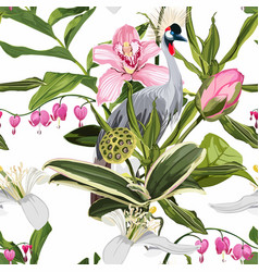 japanese crane bird and exotic flowers vector image