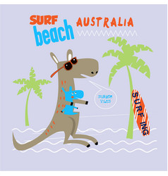 kangaroo emblem for t-shirt print vector image