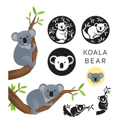 koala bear set vector image