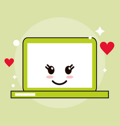 Laptop kawaii cartoon funny cute icon vector