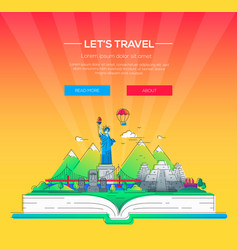 lets travel - line travel vector image