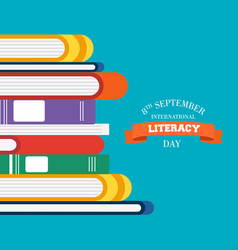 Literacy day children books for reading education vector