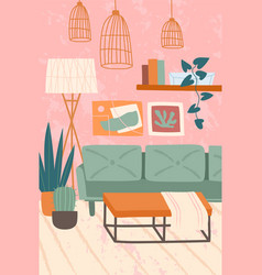 Living room interior with potted plants vector