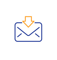 mail download line icon incoming messages vector image