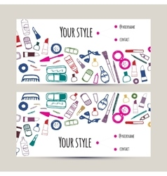 Makeup artist business card Invitation template vector