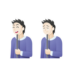 Man with an expression mask vector