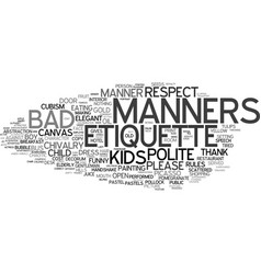 Manners word cloud concept vector