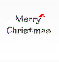 Merry christmas text with cloud and santa claus vector