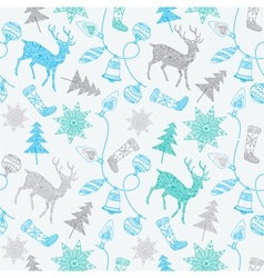 Noel card with deers and christmas decorations vector