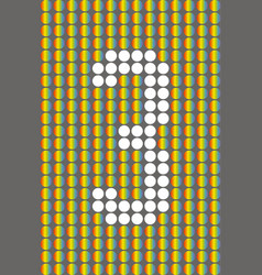 number three with white circles on rainbow circles vector image