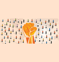 people power hand fist raise together with crowd vector image