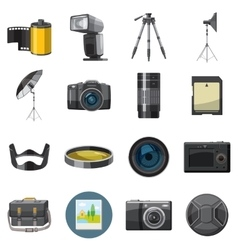 Photo icons set catoon style vector image
