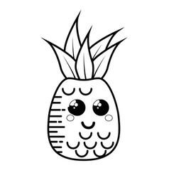 Pineapple fruit cartoon smiley vector