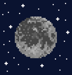 pixel art moon and stars vector image