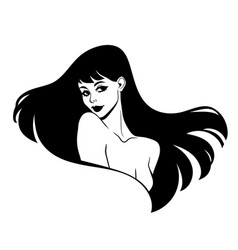 portrait a girl with long hair vector image
