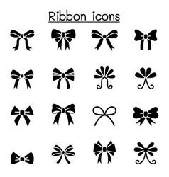 ribbon bow tie icon set graphic design vector image