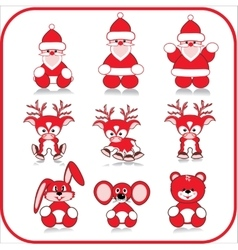 Santa claus deer bear mouse banny vector