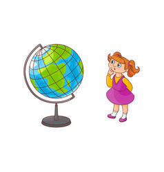 school girl with globe sphere map isolated on vector image