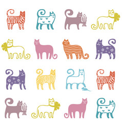 seamless cute cat pattern vector image