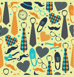 seamless pattern fathers day flat set icons on vector image
