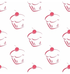 Seamless pattern or tile cupcake background vector
