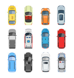 Set of car top view set vector