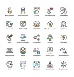 Set of network and communication icons vector