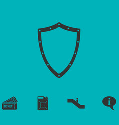 Shield icon flat vector
