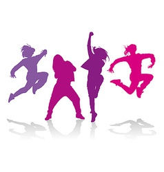 Silhouettes of girls dancing hip hop dance vector