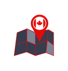 Simple canada map pins are isolated with country vector
