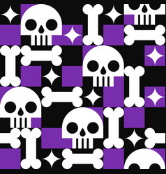 Skull with bones seamless pattern in abstract vector