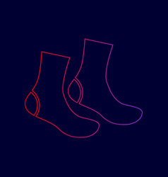 socks sign line icon with gradient from vector image