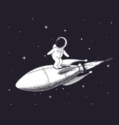 spaceman flies on rocket vector image