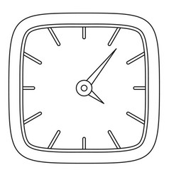 square clock icon outline style vector image