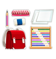 Sticker set of different stationaries vector image