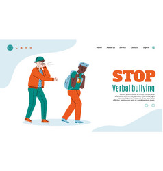 stop verbal bullying web page with teens vector image
