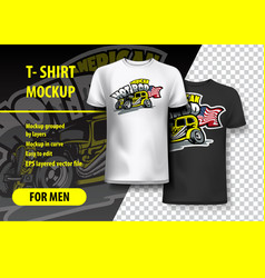T-shirt mockup with american hot rod phrase in vector