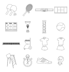 Tennis icons set thin line style vector image