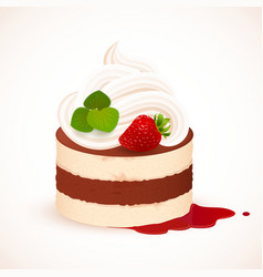 Tiramisu cake with cream and strawberry vector image