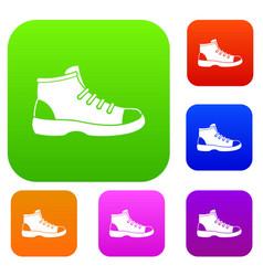 tourist shoe set collection vector image