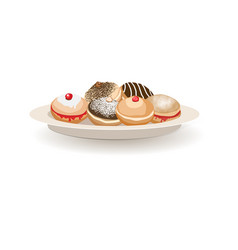 Traditional sweet donuts lie on a plate vector