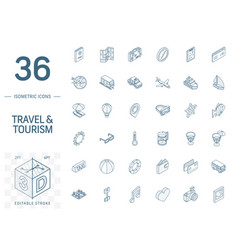 travel and tourism isometric line icons 3d vector image