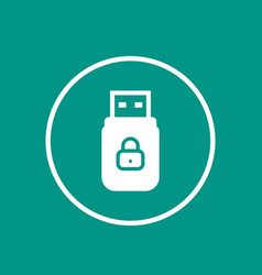 usb stick with data protection icon vector image