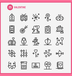 Valentine line icons set for infographics mobile vector