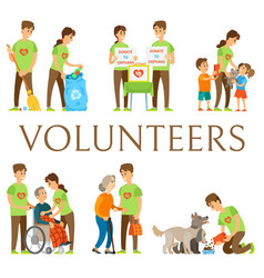 Volunteers and social workers caring for people vector