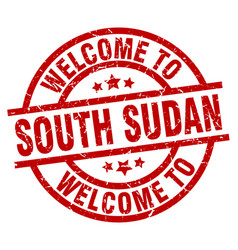 Welcome to south sudan red stamp vector