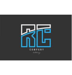 White blue alphabet letter rc r c logo icon design vector
