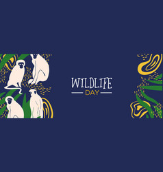 wildlife day jungle web banner with monkeys vector image