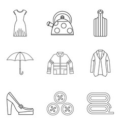 Woman firm icons set outline style vector