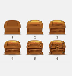 wooden chest 6 step step draw chest vector image